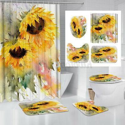 waterproof sunflower shower curtain bathroom toilet seat
