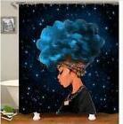 Waterproof Women Black Shower Curtain African Girl Blue Hair