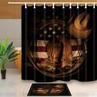 Western Cowboy Shoes On American Flag Shower Curtain set Bat