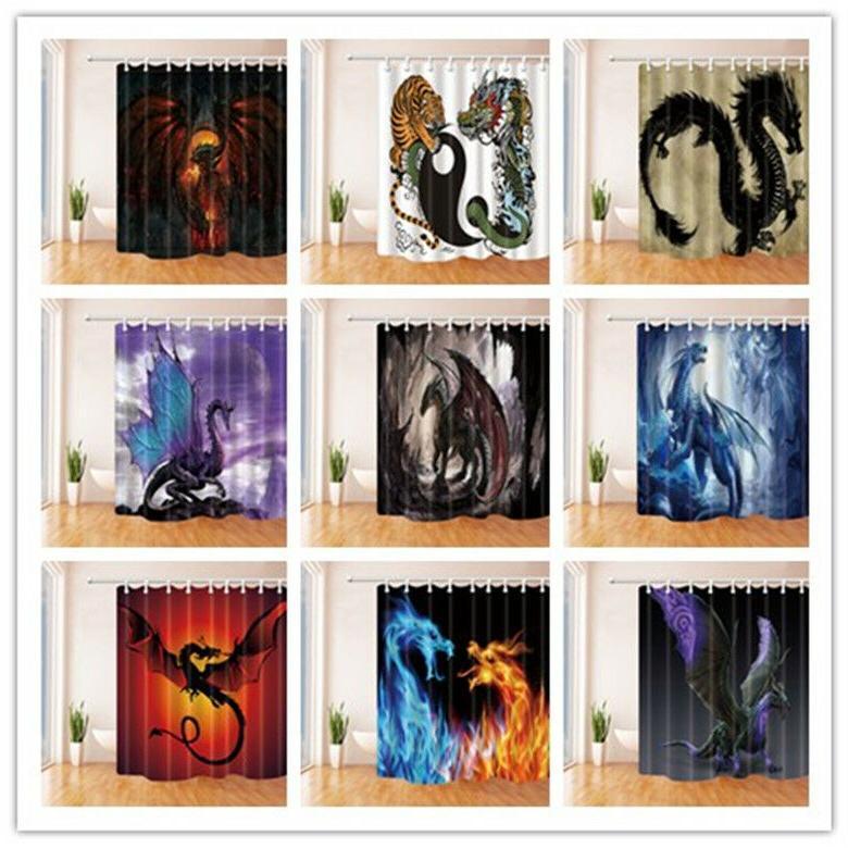 Western Dragon Animal Shower Curtain for Bathroom Home Curta