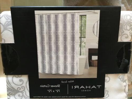 TAHARI White Silver Scroll Shower Curtain