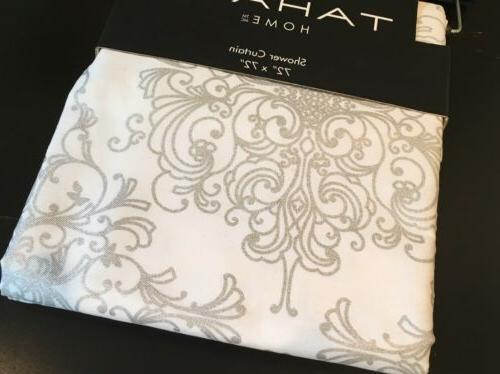 TAHARI HOME White Silver Shower Curtain