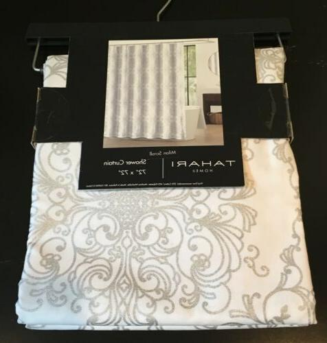 TAHARI HOME White and Silver Milan Scroll Shower Curtain