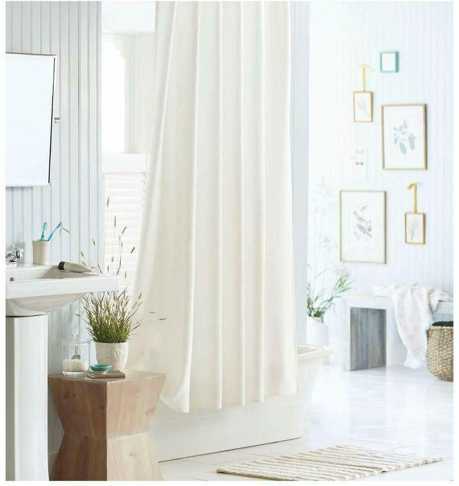 White Fabric Shower liner, Mildew Antimicrobial,