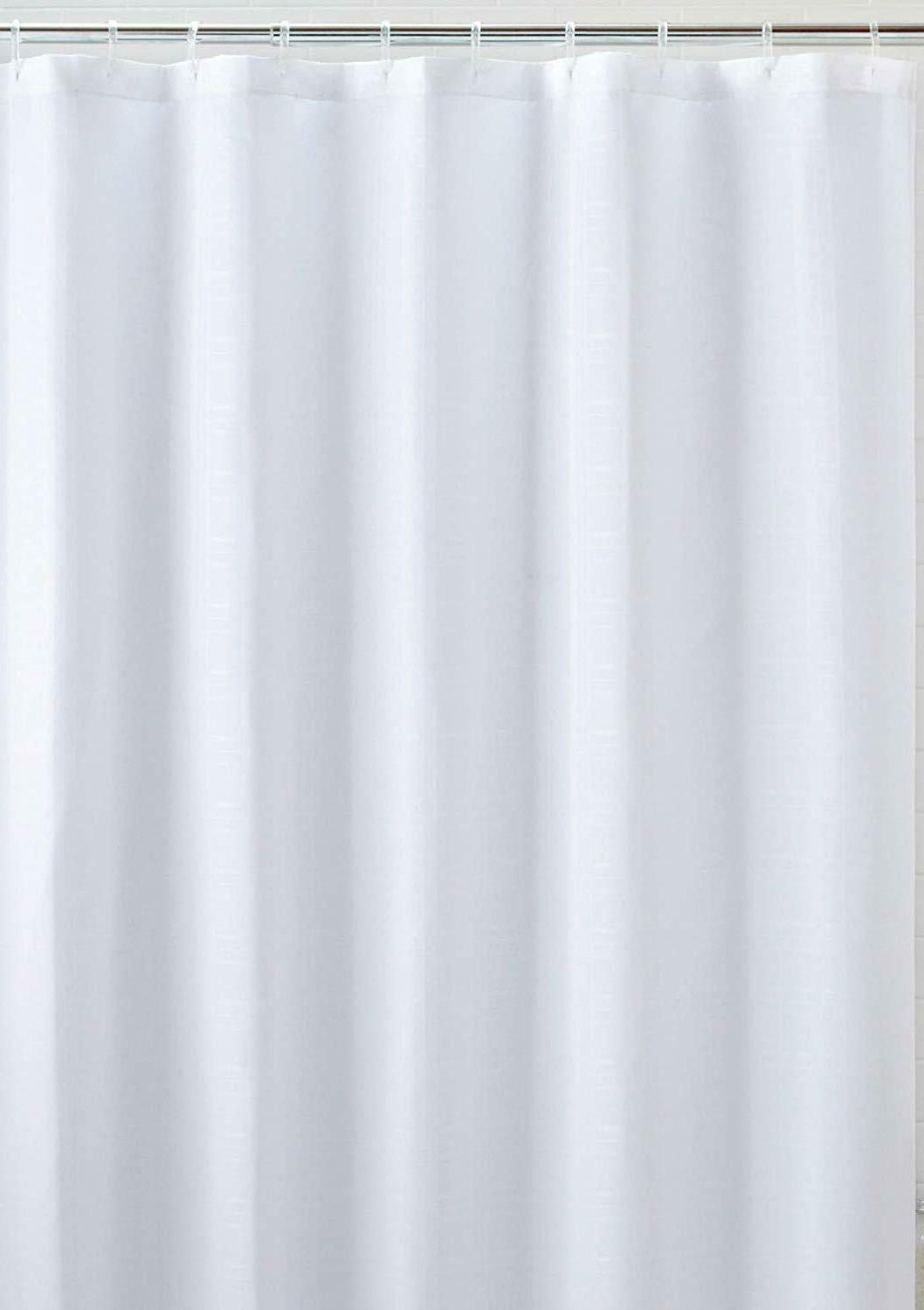 white fabric shower curtain liner mildew resistant