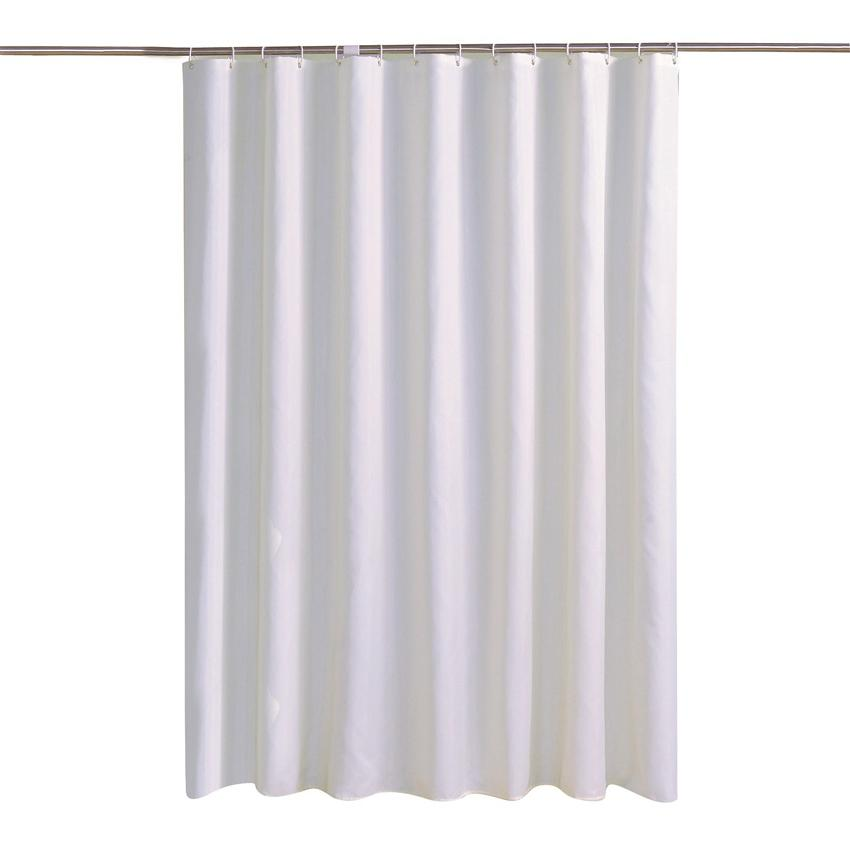 White <font><b>Shower</b></font> Thick Solid <font><b>Curtains</b></font> For Bathtub Large Hooks