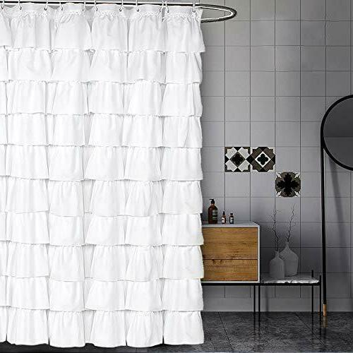 white shower curtain fabric ruffle