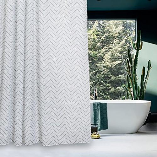 White Striped Fabric Shower Curtain Mildew for Bathroom x