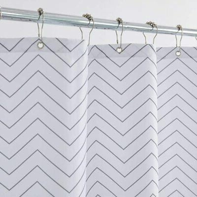 white striped washable fabric shower