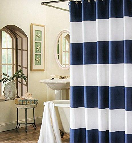 wide stripes fabric shower curtain
