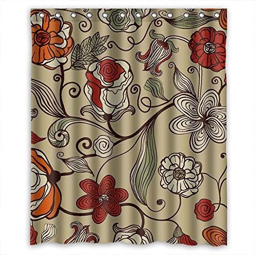 width h flower shower curtains