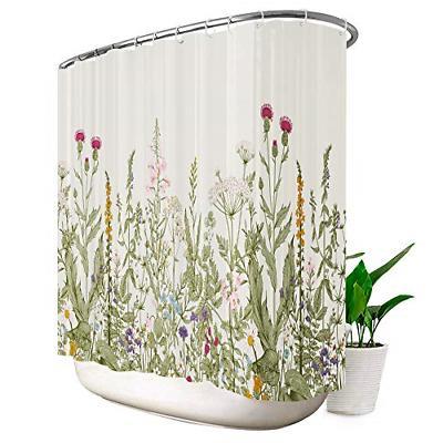 Riyidecor Wild Flower Shower Curtain Extra Wide 108x72 Inch