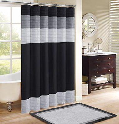 windsor shower curtain black grey panel design