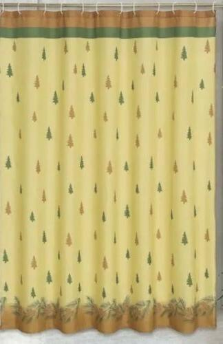 winters break pine tree fabric shower curtain