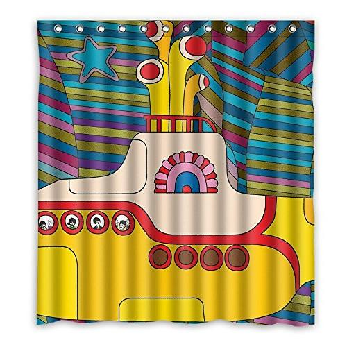 custom colorful shower curtain submarine