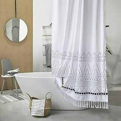 YoKii Curtain, 96 Long Boho Striped Bathroom Sho