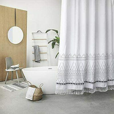 yokii tassel fabric shower curtain 96 inch