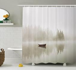 Ambesonne Landscape Shower Curtain, Boat on the Lake with Si