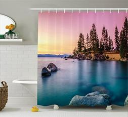 Ambesonne Lake House Decor Shower Curtain Set, Trees on the