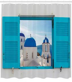 landscape shower curtain greece oia building print