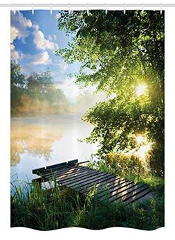 Ambesonne Landscape Stall Shower Curtain, Fishing Pier by Ri