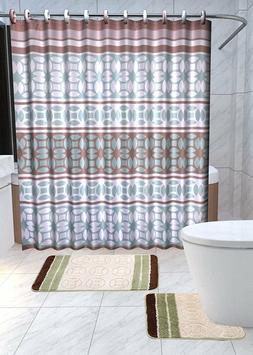 Laurel 15-Pc Bathroom Accessories Set Rugs Shower Curtain Ba