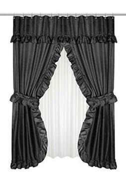 Lauren Dobby Double Swag Shower Curtain, Black