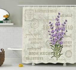 Ambesonne Lavender Shower Curtain by, Vintage Postcard Compo