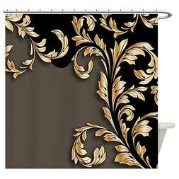 CafePress - Gold And Black Leafy Flourish - Decorative Fabri