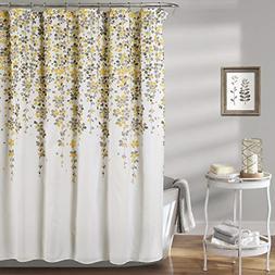 Lush Decor Leah Flower Fabric Bathroom Shower Curtain x 72 Y