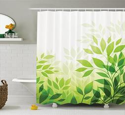 Ambesonne Leaves Decor Collection, Modern Abstract Illustrat