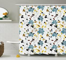 Ambesonne Leaves Decor Shower Curtain Set, Flowers Colorful