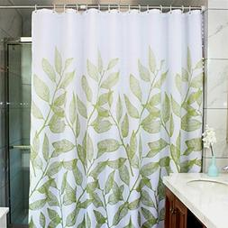 MangGou Leaves Fabric Shower Curtain,Waterproof Polyester Ba