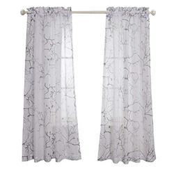 MYSKY HOME Leaves Fashion Design Print Striped White Sheer C