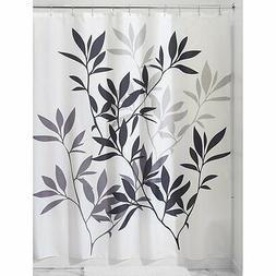 InterDesign Leaves Shower Curtain - Black/Gray/White
