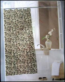 Leopard Cheetah Fabric Shower Curtain New Sealed Bathroom Ac
