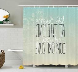 Ambesonne Lifestyle Decor Shower Curtain, Motivational Life