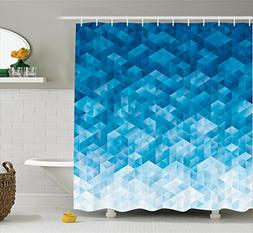 Ambesonne Light Blue Shower Curtain Geometric Decor by, Geom