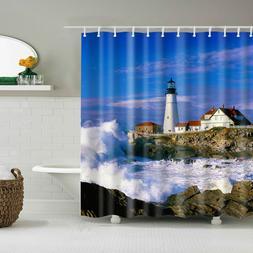 Lighthouse Decor Shower Curtain Tropical Island Bathroom Acc