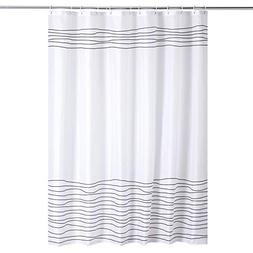 BUZIO Line Pattern Shower Curtain with 12 Curtain Hooks for