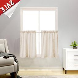 """Linen Textured Kitchen Curtains 36"""" Tier Curtains Bathroom C"""