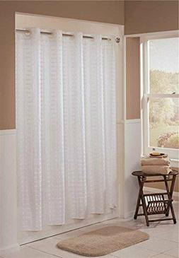 Hookless Litchfield 71-by-74-Inch Fabric Shower Curtain, Whi