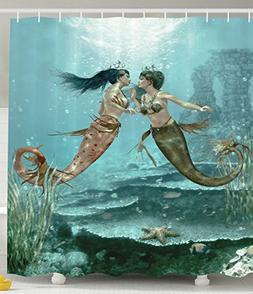 Ambesonne Little Mermaids Shower Curtain in Love Underwater