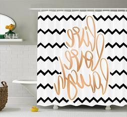 Ambesonne Live Laugh Love Decor Shower Curtain, Motivational