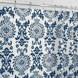 mDesign LONG Damask Print - Easy Care Fabric Shower Curtain
