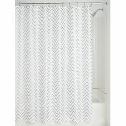 "mDesign LONG Fabric Shower Curtain, Zig-Zag Print, 84"" Long"