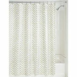 "mDesign LONG Fabric Shower Curtain, Zig-Zag Print, 84"" Long"