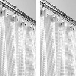 mDesign - 2 Pack - Long Polyester/Cotton Blend Fabric Shower