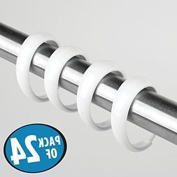 mDesign Long-Lasting C Shaped Shower Curtain Hooks - Easy Gl