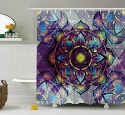 Ambesonne Lotus Shower Curtain, Psychedelic Surreal Sacred G